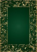 Gold Grunge Frame On Green Background