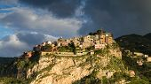 pic of sicily  - Hilltop village of Castelmola in clouds - JPG