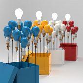 Desenho a lápis de idéia e o conceito de lâmpada fora da caixa como criativo
