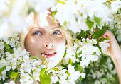 Closeup beautiful woman among blossom apple tree