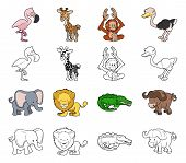 stock photo of gator  - A set of cartoon safari animal illustrations - JPG