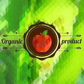 Label With Apple On Color Background Made Of Triangles
