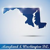 icono brillante en forma de estado de Maryland y Washington D.C.