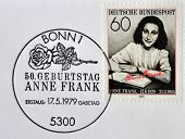GERMANY- CIRCA 1979: stamp printed by Germany shows Anne Frank Nazi victim circa 1979