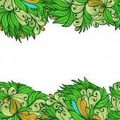 Seamless Abstract Horizontal Greenl Hand Drawn Floral Ornament