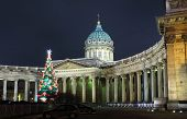 Kazan Cathedral and Christmas tree at night in St. Petersburg Russia