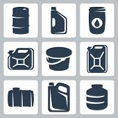 Vector Cans And Barrels Icons Set