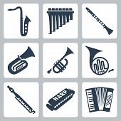 Vector Musical Instruments: Pipes, Harmonica And Accordion