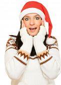 Portrait of beautiful  girl wearing santa claus clothe