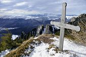 Wooden Cross On Mountain Top