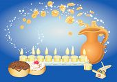 chanuka background with candles, donuts, oil pitcher and spinning top and  flying coines