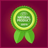 Natural product green label on violet