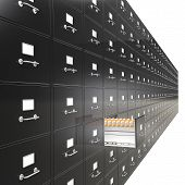 picture of manila paper  - Massive wall of File Cabinets - JPG