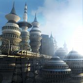 picture of sci-fi  - aerial view of Futuristic City with train - JPG