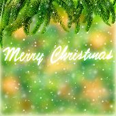 Merry Christmas green border, handwriting text on abstract background, festive wallpaper, wintertime holidays concept