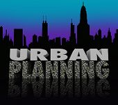 Urban Planning Words City Skyline Building Plan
