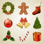 Christmas design elements and icons. Xmas decorations set. Raster copy of vector illustration