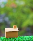 Home Making From Old Recycle Paper Box Lying On Green Grass Field With Beautiful Blur Background Use