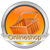 Button online shop with shopping basket