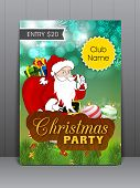 Merry Christmas celebration greeting card or invitation card with happy Santa Claus carrying gift boxes.