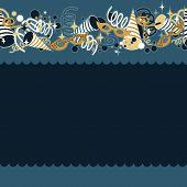 blue navy Venetian masks confetti and serpentines seamless upper horizontal border