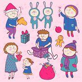 Childish christmas vector set in cartoon style