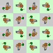 Design Seamless Colorful Checked Pattern. Geometric Pattern With Cute Ducks.