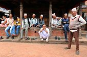 People resting in the historical city of Bhaktapur
