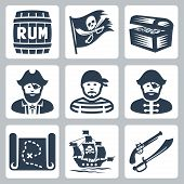 stock photo of pirate hat  - Vector pirates piracy icons set over white - JPG