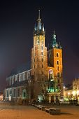 Night City Square In Krakow, Poland