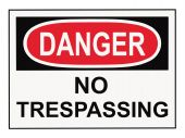 stock photo of osha  - OSHA danger no trespassing warning sign isolated on white - JPG