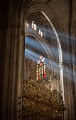 SEVILLA, SPAIN - FEBRUARY 10, 2013 - Sunbeams in Catedral de Sevilla