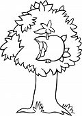 Nibbled Apple On Tree Coloring Page