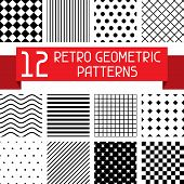 Set of 12 retro geometric patterns.