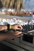Dj Turntable And Mixer At Beach Party
