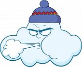 Cloud With Face Blowing Wind Cartoon Character