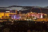 LAS VEGAS, NEVADA - November 28:  Dusk view of brightly lit resorts on the strip. Vegas has 149,820