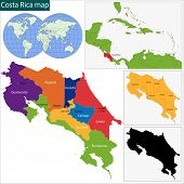 Map of the Republic of Costa Rica with the provinces