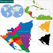 Map of the Republic of Nicaragua with the departments