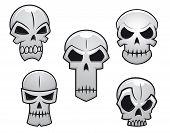 Cartoon Skulls Set With Danger Emotions
