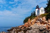 image of lighthouse  - Bass Harbor Lighthouse lies outside of Acadia National Park in Maine - JPG