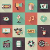 image of tv sets  - set of flat cinema icons - JPG