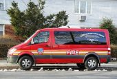 The FDNY fire family transport foundation van in Brooklyn
