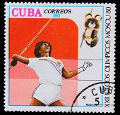 CUBA - CIRCA 1980: A stamp printed in CUBA, devoted to Olympic G