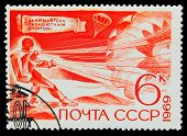 USSR - CIRCA 1969: A stamp printed in USSR, parachuting, athlete