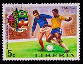 LIBERIA - CIRCA 1974: A post stamp printed LIBERIA, Brazil again