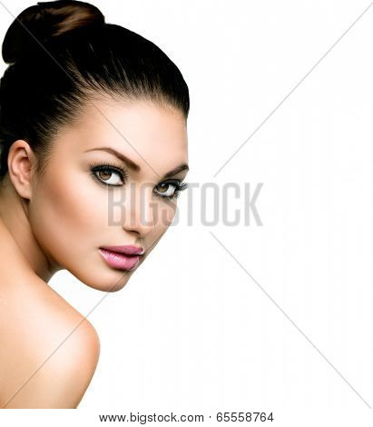 Beautiful Face of Young Woman with Clean Fresh Skin close up isolated on white. Beauty Portrait. Bea poster