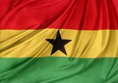 Closeup of silky Ghana flag