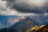 Cloudy rainy mountains, Himalayas, India