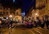 Lviv street at night